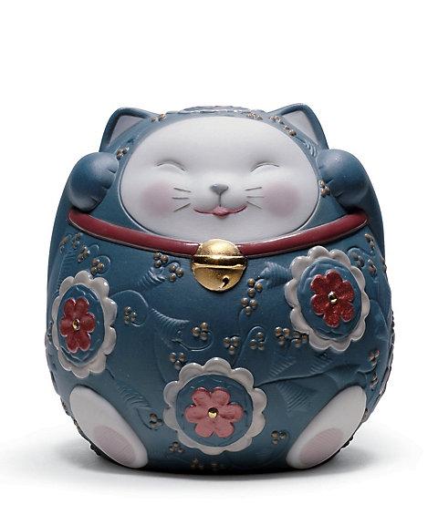 <リヤドロ/LLADRO> 招き猫(Blue・ギフトボックス) 【三越・伊勢丹/公式】