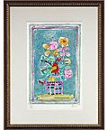 <三越・伊勢丹/公式> ポール・アイズピリ「水色の背景の赤い鳥のいる花束」※額付画像