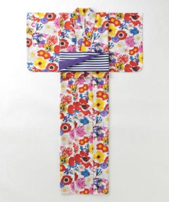 <三越・伊勢丹/公式> M / mika ninagawa x ISETAN YUKATA 婦人仕立上りゆかた 花/白ベース画像