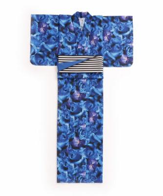 <三越・伊勢丹/公式> M / mika ninagawa x ISETAN YUKATA 婦人仕立上りゆかた 青バラ柄画像