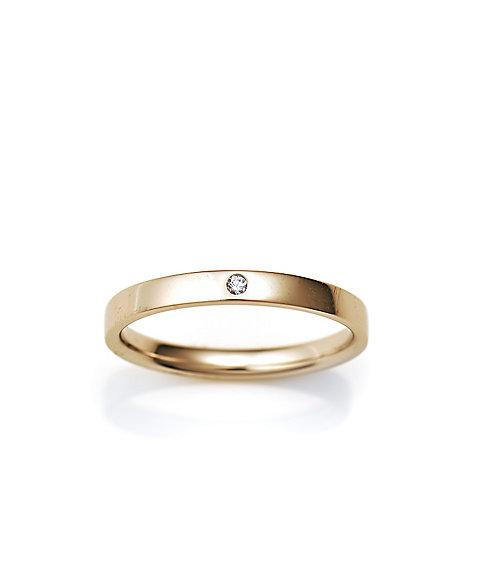 三越・伊勢丹オンラインストア<ISETAN MITSUKOSHI BRIDAL JEWELRY> 平打ち2.0mm ダイヤモンド1石 3号ー15号 ゴールド