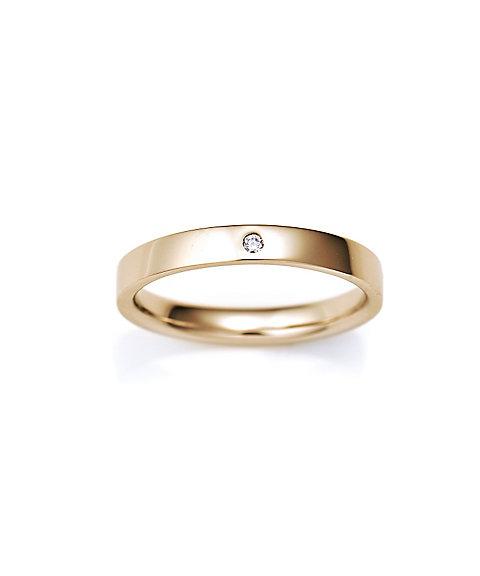 三越・伊勢丹オンラインストア<ISETAN MITSUKOSHI BRIDAL JEWELRY> 平打ち2.5mm ダイヤモンド1石 3号ー15号 ゴールド