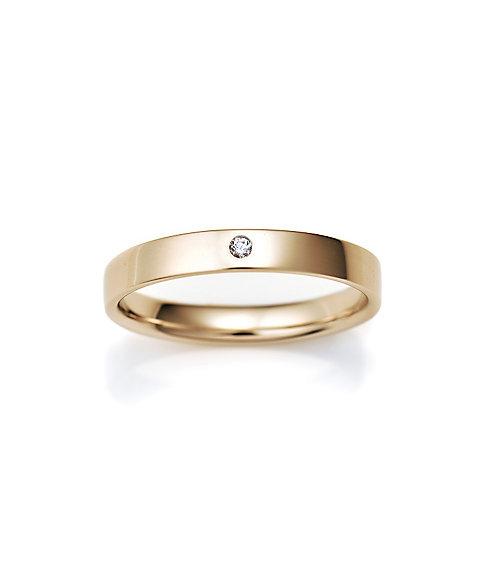 三越・伊勢丹オンラインストア<ISETAN MITSUKOSHI BRIDAL JEWELRY> 平打ち3.0mm ダイヤモンド1石 16号ー22号 ゴールド