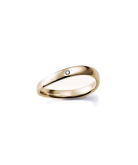 三越・伊勢丹オンラインストア<ISETAN MITSUKOSHI BRIDAL JEWELRY> 甲丸S字3.0mm ダイヤモンド1石 3号ー15号 ゴールド