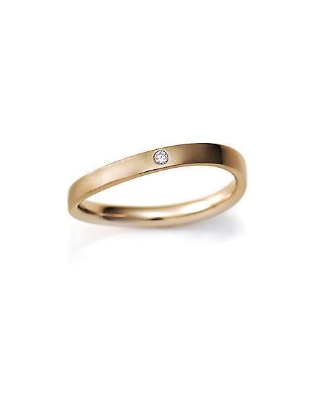 三越・伊勢丹オンラインストア<ISETAN MITSUKOSHI BRIDAL JEWELRY> 平打ちS字2.0mm ダイヤモンド1石 16号ー22号 ゴールド