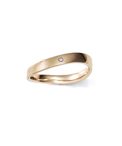 三越・伊勢丹オンラインストア<ISETAN MITSUKOSHI BRIDAL JEWELRY> 平打ちS字3.0mm ダイヤモンド1石 16号ー22号 ゴールド