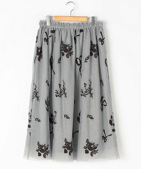 大きいサイズ 30th企画オリジナルフラワー刺繍入りチュールスカート(16170073)(クローバー) リボンフラワー(80)