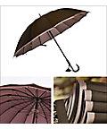 <三越・伊勢丹/公式><小宮商店> 甲州織両面無地長傘かさね 995306-81 濃ブラウンxアッシュピンク画像