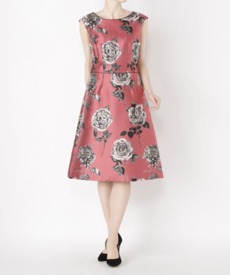 <三越・伊勢丹/公式> レンタルNO.36 バラ柄ドレス(R0028) ピンク画像