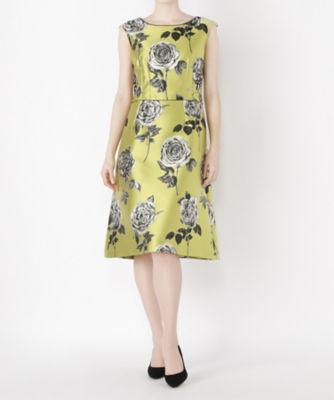 <三越・伊勢丹/公式> レンタルNO.36 バラ柄ドレス(R0028) グリーン画像