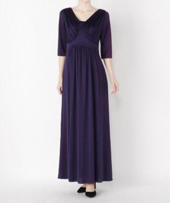 <三越・伊勢丹/公式> レンタルNO.51 パープル袖付ドレス(R0044)画像