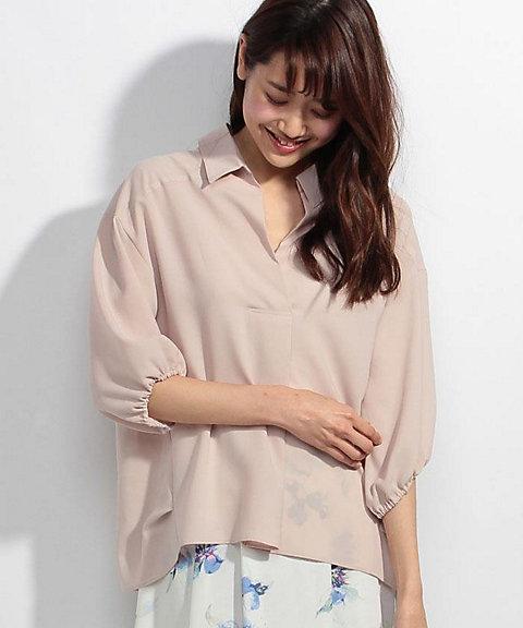<三越・伊勢丹> 大きいサイズ バックリボンシャツブラウス ピンク
