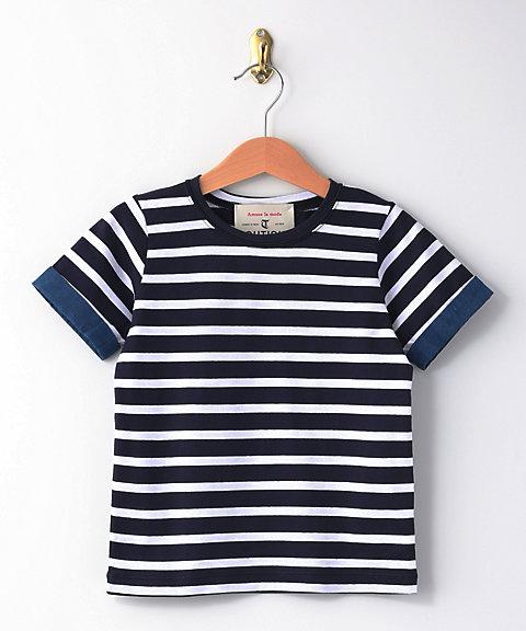 三越・伊勢丹オンラインストア<Ready for the Weekend>藍染Tシャツ ネイビー/ホワイト