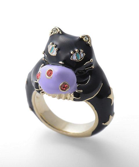 カップケーキ&猫モチーフリング(SAMR0658)