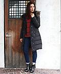<三越・伊勢丹/公式><サブストリート マイスタンダード/SAB STREET MY STANDARD> 大きいサイズ <CHARLI(チャーリー)> 【予約商品・11月上旬頃お届け】ファー付ロングダウンコート(33-71-8941)(クローバー) ブラック(00)画像