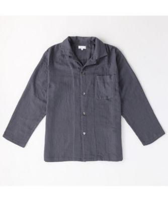 <三越・伊勢丹/公式> マシュマロガーゼ メンズパジャマシャツ ダークグレー画像