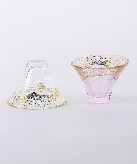 招福杯 富士山 冷酒杯揃え(金透き・金さくら)セット