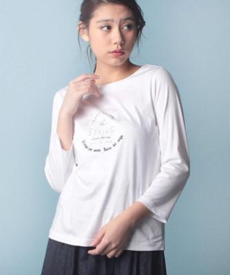 <三越・伊勢丹/公式> ロゴ刺繍7分袖カットソー アイボリー画像