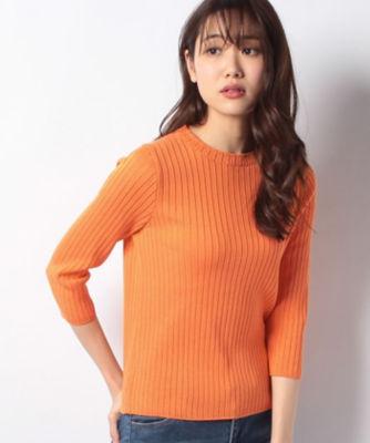 <三越・伊勢丹/公式> 7分袖リブニット オレンジ画像