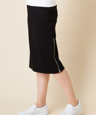 <三越・伊勢丹/公式> 大きいサイズ ジップデザインタイトスカート クロ画像