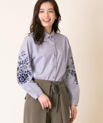 <三越・伊勢丹/公式> 大きいサイズ ストライプxフラワー刺繍シャツ ダルブルー画像