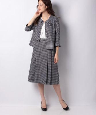 <三越・伊勢丹/公式> 春ツイードジャケット・プリーツフレアスカートのセット ネービーブルー画像