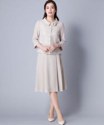 <三越・伊勢丹/公式> 春ツイードジャケット・プリーツフレアスカートのセット ベージュ画像