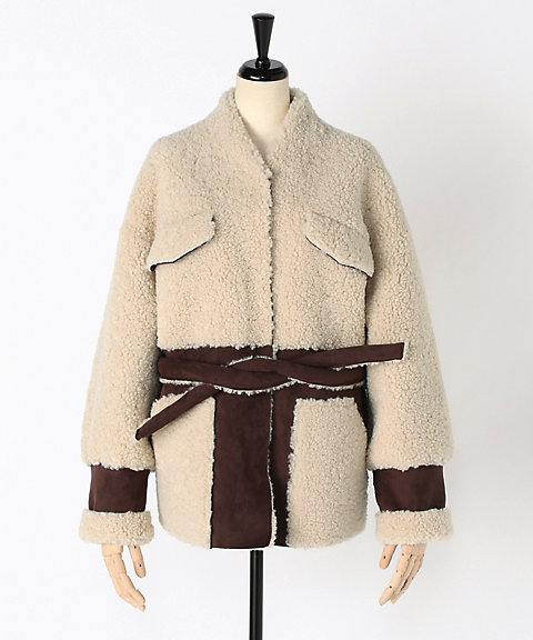 <EARIH>ECO MOUTON BELTED COAT