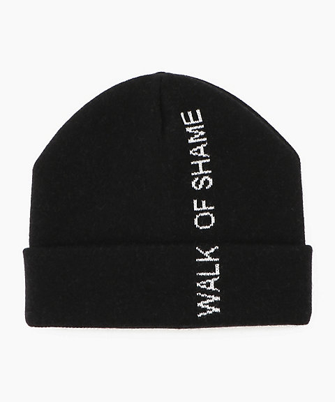 <WALK OF SHAME>LOGO BLACK KNITTED CAP