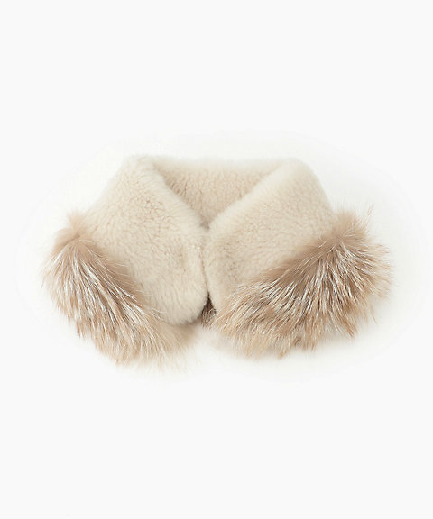 <KARL DONOGHUE>Cashmere touch lamb skin scarf