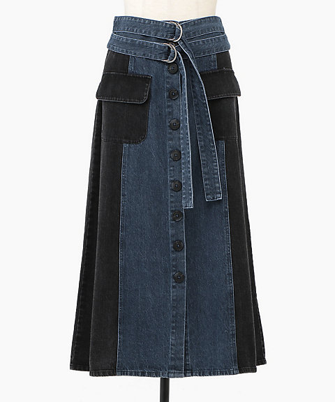 <Sea New York>Blue Denim 2TONE A-Line Skirt