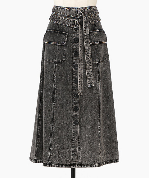 <Sea New York>Noir Denim A-Line Skirt
