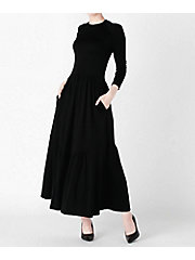 <BORDERS at BALCONY>WOOLJERSEY MAXI DRESS(BD1921I-2K-01)