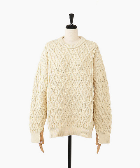 <AURALEE(WOMEN)>HARD TWIST MERINO ARAN KNIT BIG P/O