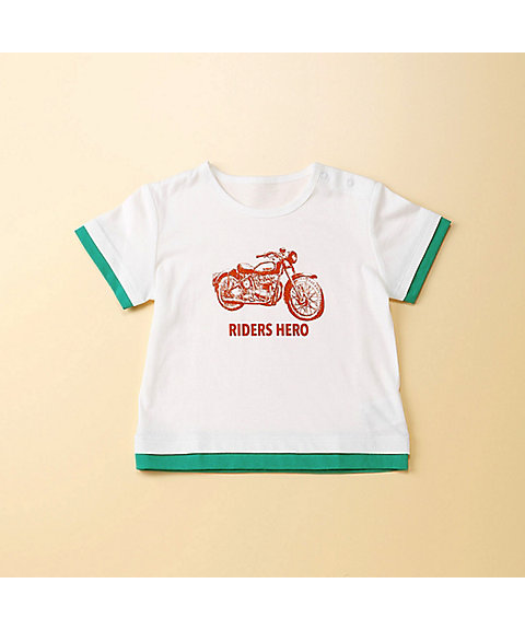 <COMME CA FOSSETTE>バイク柄プリント半袖Tシャツ(2021TI11)
