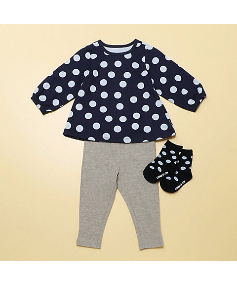 <COMME CA ISM (ベビー&キッズ)>【ギフトセット】女の子用(1・2歳頃)長袖チュニック&スパッツ(2383WI06)