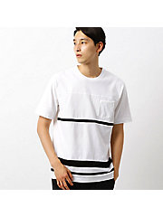 <COMME CA ISM (メンズ)>切替 ボーダー Tシャツ(4764TI05)