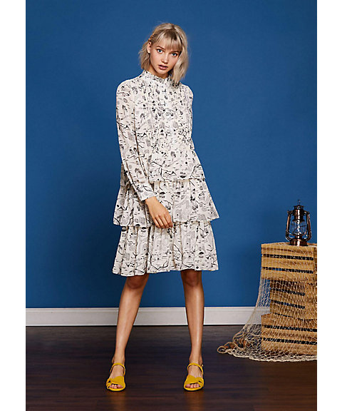 <sister jane>Vacation Print Tiered Dress(19SJ01DR1025IVO)