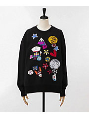 <ANNA SUI>×<MARC JACOBS>EMBELLISHED SWEATSHIRT(M4007636-001)