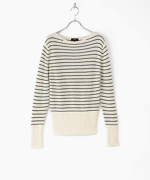 <Theory>Cash Cotton/Striped Boatneck(クローバー)