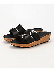 <フィットフロップ> DUO-BUCKLE SLIDE SANDALS - LEATHER(K34-001)