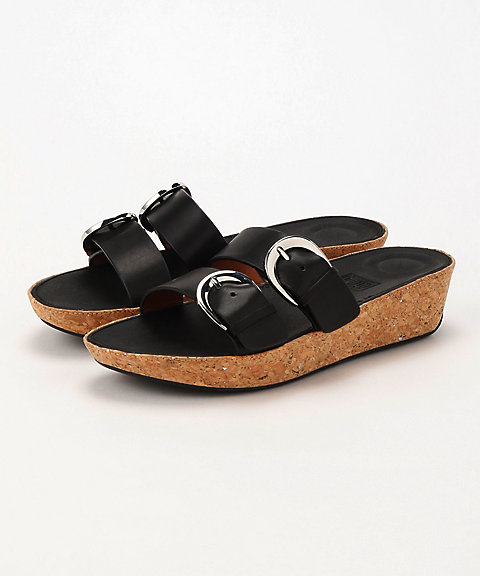 <フィットフロップ>DUO-BUCKLE SLIDE SANDALS - LEATHER(K34-001)