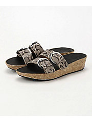 <フィットフロップ> DUO-BUCKLE SLIDE SANDALS- SNAKE-PRINT LEATHER(K35-585)