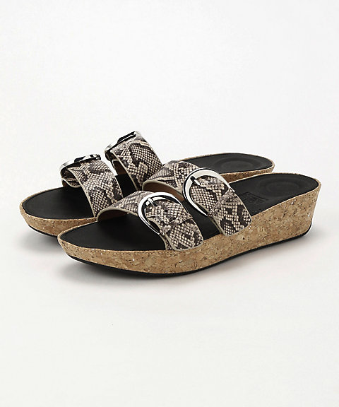 <フィットフロップ>DUO-BUCKLE SLIDE SANDALS- SNAKE-PRINT LEATHER(K35-585)