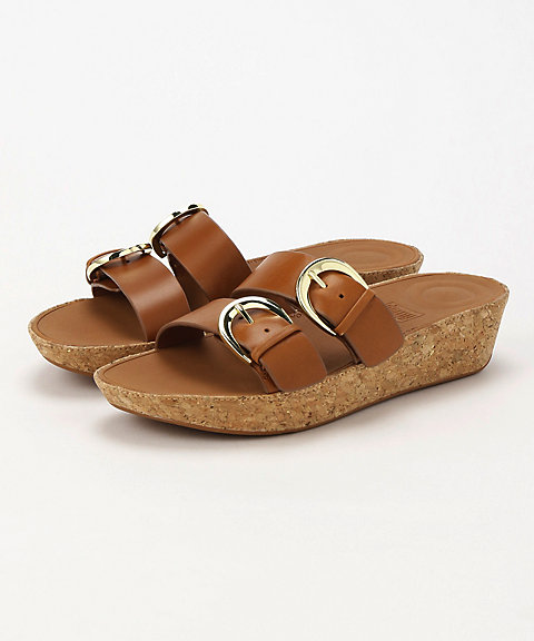 <フィットフロップ>DUO-BUCKLE SLIDE SANDALS - LEATHER(K34-098)