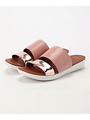 <フィットフロップ> DELTA SLIDE SANDALS - LEATHER/MIRROR(K29-556)