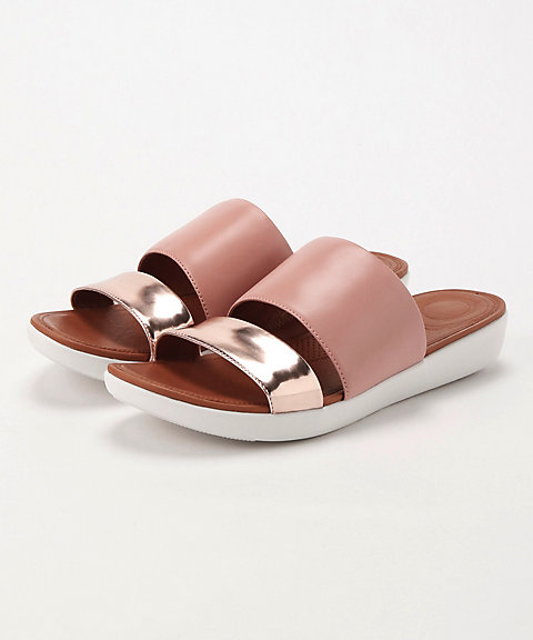 <フィットフロップ>DELTA SLIDE SANDALS - LEATHER/MIRROR(K29-556)