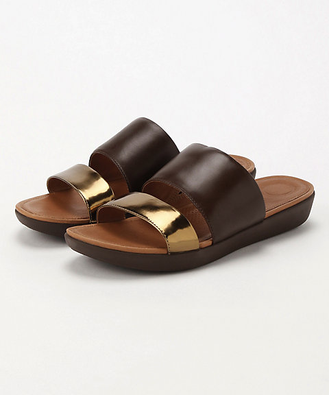 <フィットフロップ>DELTA SLIDE SANDALS-LEATHER/MIRROR(K29-558)