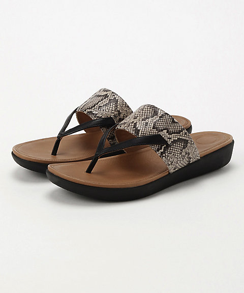 <フィットフロップ>DELTA TOE-THONG SANDALS-LEATHER/SNAKE-PRINT(K33-586)