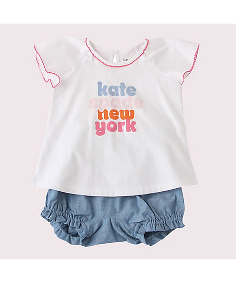 <kate spade new york children's wear>レイエット ロゴ ティー アンド ブルマー セット(8592503)